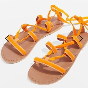 Brand new TopShop orange velvet Hacienda Sandal
